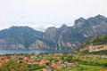 View from above to riva del garda italy and lake Royalty Free Stock Photo