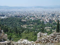 View from the acropolis athens greece of ancient ruins below with modern in background Royalty Free Stock Images