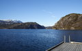 View across a fjord in norway hordaland county during the early spring Royalty Free Stock Photos