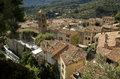 View across roof tops moistiers sainte marie verdon france over french village set high on the side and between two mountains Royalty Free Stock Photo