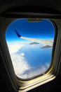 View from an aeroplane and a blue sky Royalty Free Stock Image
