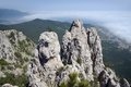 View from ai petri mountain over cliff and black sea yalta crimea ukraine Stock Images