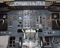 View of aircraft thrust lever in pilot s cabin Stock Photos