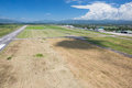 View from the airfield of air aerial on background mountains and blue sky venezuela Royalty Free Stock Image