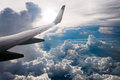View from Airplane window fly over Cumulonimbus cloud bird eye v Royalty Free Stock Photo
