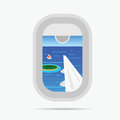 view through airplane window on the paradise sea illustration Royalty Free Stock Photo