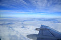 View of airplanes wing from the window aerial photography Royalty Free Stock Image
