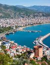 View of Alanya harbor from Alanya peninsula. Royalty Free Stock Photo