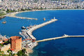 View of alanya harbor form alanya peninsula turkish riviera Stock Photo