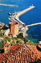 View of alanya harbor form alanya peninsula turkish riviera Stock Photos