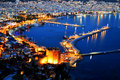 View of alanya harbor form alanya peninsula turkish riviera by night Stock Photography