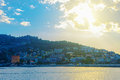 View of Alanya peninsula at sunset Royalty Free Stock Photo