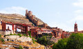 View of albarracin with fortress wall old aragon Royalty Free Stock Photography