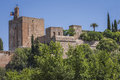 View of the Alcazaba of the Alhambra from Torres Bermejas Royalty Free Stock Photo