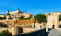 View of alcazar of toledo from puente of alcantara in sunny day spain Royalty Free Stock Images