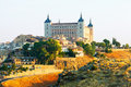 View of alcazar of toledo in sunny morning castile–la mancha spain Stock Photo
