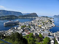 View of alesund from mount floyen norway Royalty Free Stock Photos