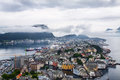 View of alesund norway from the mountain aksla at the city Royalty Free Stock Photos