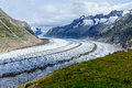 View of the aletsch glacier in swiss alps Royalty Free Stock Image