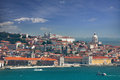 View of alfama and graca cityscape of lisbon portugal europe panorama Stock Photography
