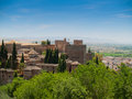View of the Alhambra castle in Granada, Spain Royalty Free Stock Photo