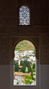The view from alhambra palace window granada city andalucia spain Royalty Free Stock Photo