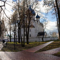 The view of the alleys in the city Park going to the Kremlin photographed early autumn morning. Autumn. Suzdal. Russia.