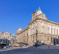 View of the almeida garret square with the sao bento railway station and congregados church at the back porto portugal january Royalty Free Stock Images
