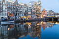 View along the Amsterdam Canals at twilight