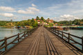 View along m long wooden mon bridge connecting main part songkhla buri mon village Stock Photo