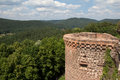 View from the altdahn castle ruins of still show original strength of this th century stronghold in palatine hills of germany Stock Photos
