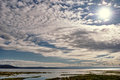 View of altocumulus over Morecambe Bay, Cumbria. Royalty Free Stock Photo