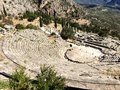 The view on amphitheater, in the archaeological site of Delphi, Greece Royalty Free Stock Photo
