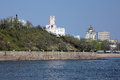 View from amur river on monument of nikolay muraviev amursky building on the cliff and transfiguration cathedral in khabarovsk far Royalty Free Stock Image