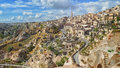 View of ancient Nevsehir cave town and a castle of Uchisar Royalty Free Stock Photo