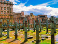 The view of ancient ruins in roman forum in Rome, Italy Royalty Free Stock Photo