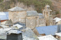 View ancient rural spanish village slate roofs stone christian church penalba de santiago spain Stock Photography