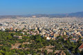 View of ancient temple of hephaestus in agora and city athens in greece Stock Images