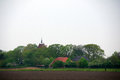 View on anloo church and farms little town of in drenthe in the netherlands Royalty Free Stock Photos