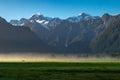View of Aoraki Mount Cook and Mount Tasman from Lake Matheson, New Zealand Royalty Free Stock Photo