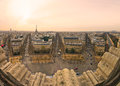 View from arc de triomphe of paris fish eye Stock Photos