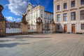 View on Archbishops Palace from the First Courtyard of Prague Ca Royalty Free Stock Photo
