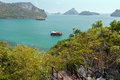 View of archipelago at the angthong in thailand ang thong national marine park from mae ko island slightly from above Stock Photo
