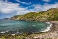 View on Atlantic Ocean coast near Ponta Delgada city on Sao Miguel island, Azores, Portugal