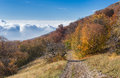 View from babuhan yaila natural reserve down to black sea in autumnal season when fog arises the and goes mountains Stock Photos