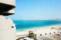 The view from balcony on beach and Jumeirah Palm man-made island Royalty Free Stock Photo