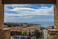 View from balcony to coast in tarragona spain spectacular catalonia Royalty Free Stock Images