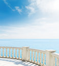 View from the balcony to sea under clouds Stock Photo