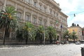 View on banca d italia via nazionale in rome italy august peoples street nationale building of Royalty Free Stock Photos
