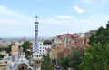 View of barcelona in the foreground park guell spain june at cloudy day spain Stock Photos